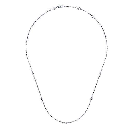 14K White Gold Geometric Shape Diamond Station Necklace