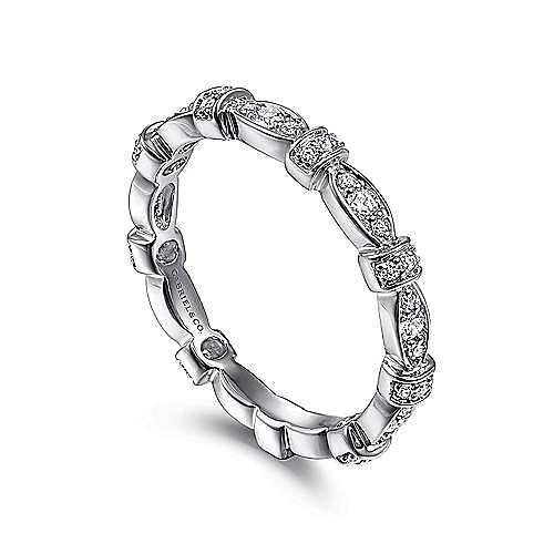 14K White Gold Geometric Stackable Diamond Ring