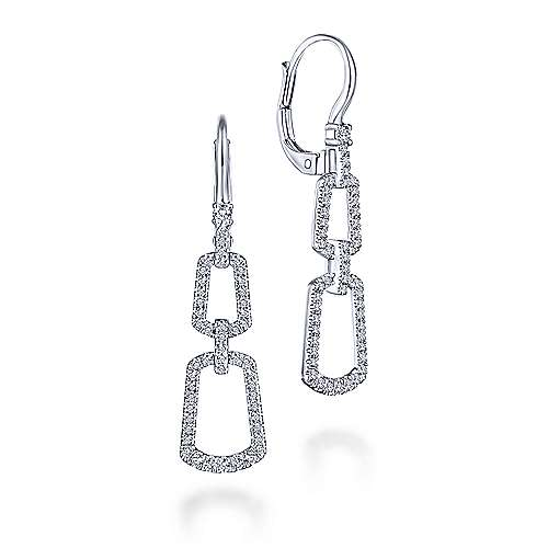 14K White Gold Graduated Chain Link Diamond Drop Earrings