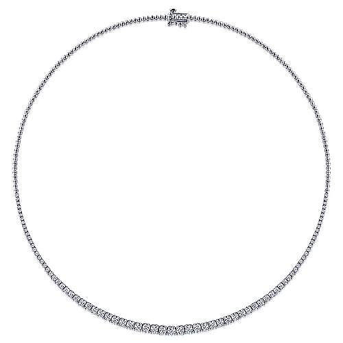 14K White Gold Graduated Diamond Necklace