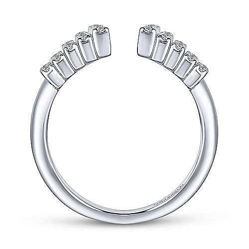 14K White Gold Graduating Diamond Rows Open Ring
