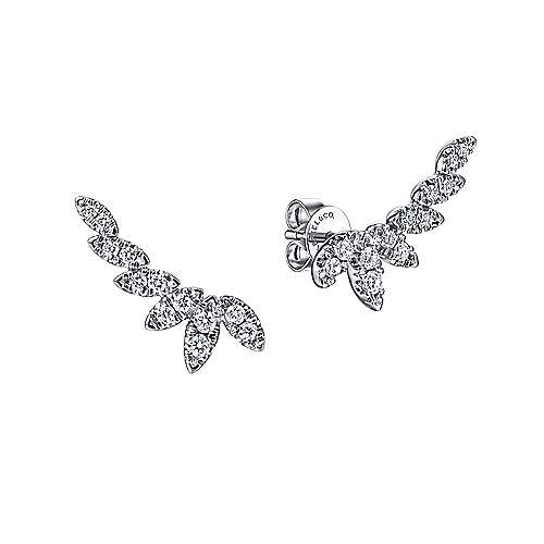 14K White Gold Graduating Marquise Shape Curved Diamond Stud Earrings