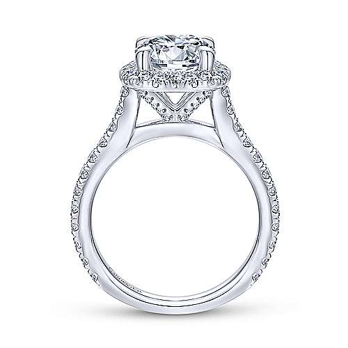 14K White Gold Halo Cushion Halo Round Diamond Engagement Ring