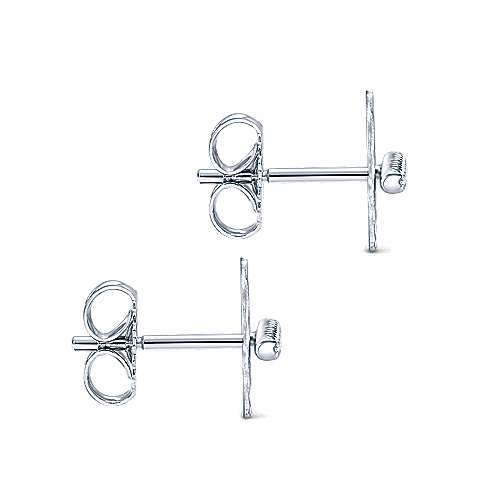 14K White Gold Hammered Discs with Diamond Bar Center Stud Earrings
