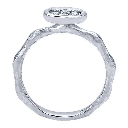14K White Gold Hammered Ring with Oval Diamond Cluster Center