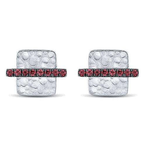 14K White Gold Hammered Square Ruby Bar Stud Earrings