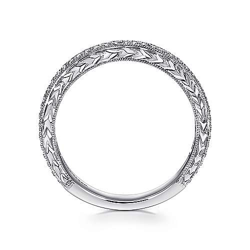 14K White Gold Hand Engraved Micro Pavé Diamond Anniversary Band