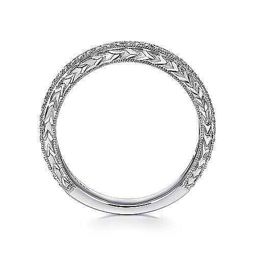 14K White Gold Hand Engraved Micro Pavé Diamond Wedding Band