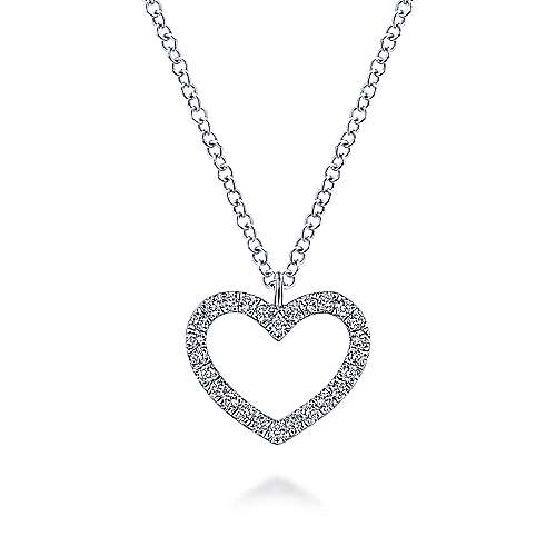 14K White Gold Heart Diamond Pendant Necklace