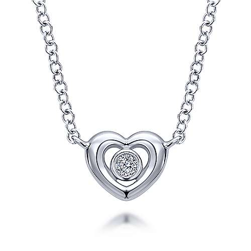14K White Gold Heart Pendant Necklace with Diamonds