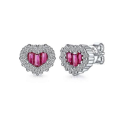 14K White Gold Heart Ruby and Diamond Earrings