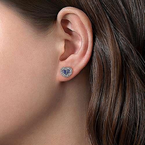 14K White Gold Heart Sapphire and Diamond Earrings