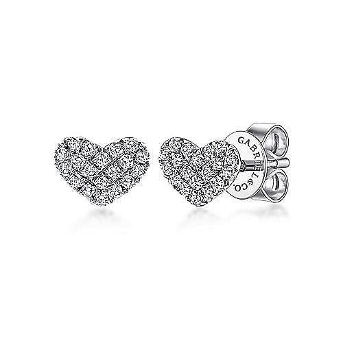 14K White Gold Heart Shaped Pavé Diamond Stud Earrings