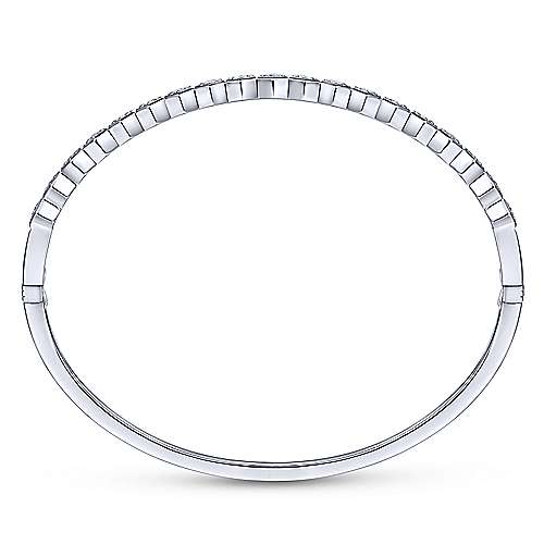14K White Gold Hexagon Set Round Diamond Bangle