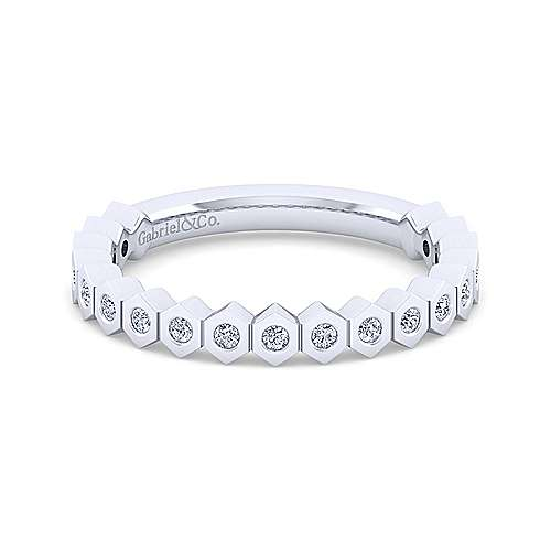 14K White Gold Hexagon Shape Stackable Diamond Band