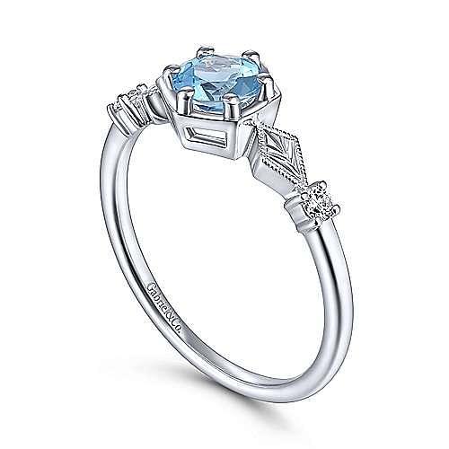 14K White Gold Hexagonal Blue Topaz Diamond Ring