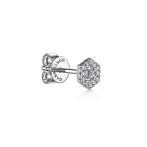 14K White Gold Hexagonal Diamond Halo Stud Single Earring