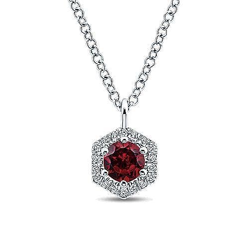 14K White Gold Hexagonal Halo Garnet and Diamond Pendant Necklace