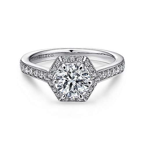 14K White Gold Hexagonal Halo Round Diamond Engagement Ring
