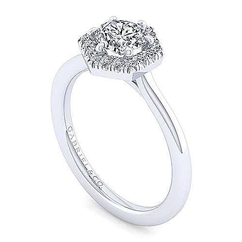14K White Gold Hexagonal Halo Round Diamond Engagement Ring