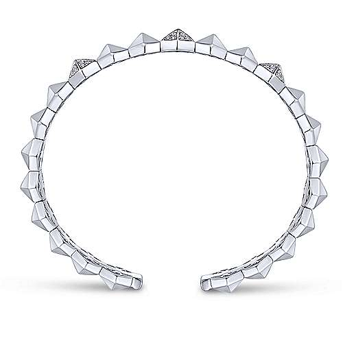 14K White Gold Hexagonal Pyramid Diamond Pavé Split Bangle