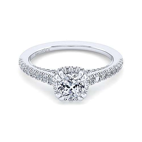 14K White Gold Hidden Halo Cushion Cut Diamond Engagement Ring