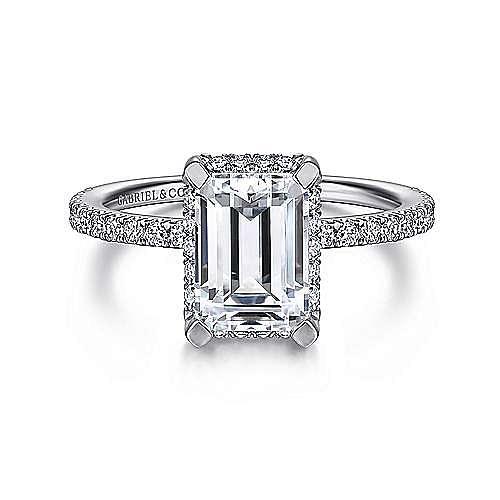 14K White Gold Hidden Halo Emerald Cut Diamond Engagement Ring