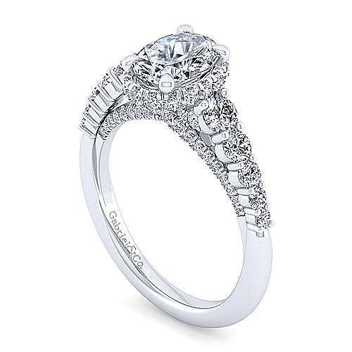 14K White Gold Hidden Halo Oval Diamond Engagement Ring
