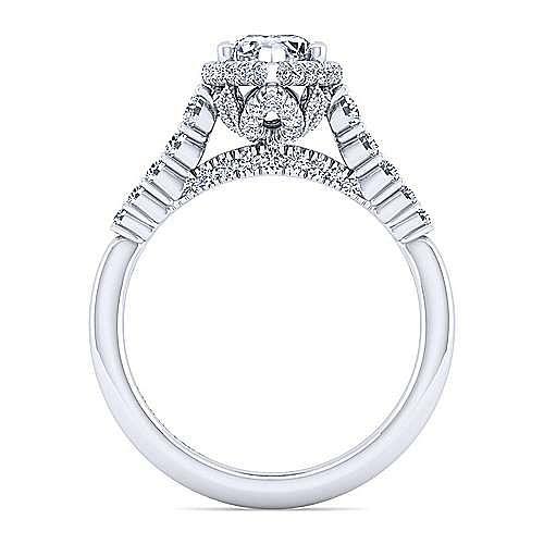 14K White Gold Hidden Halo Pear Shape Diamond Engagement Ring