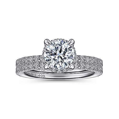 14K White Gold Hidden Halo Round Diamond Engagement Ring