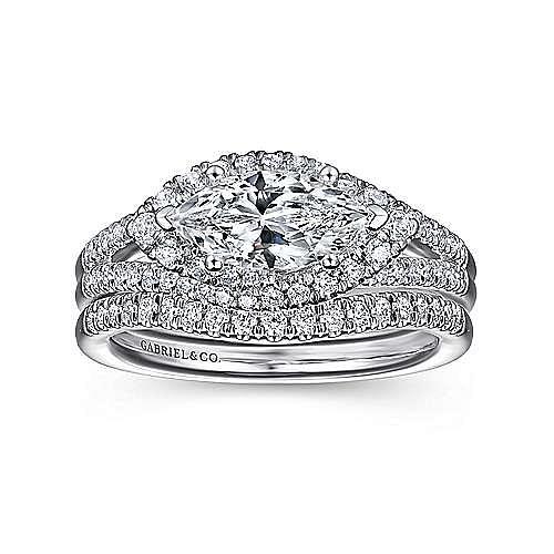 14K White Gold Horizontal Marquise Halo Diamond Engagement Ring