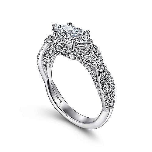 14K White Gold Horizontal Marquise Shape Diamond Engagement Ring