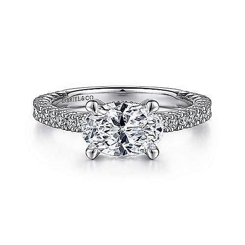 14K White Gold Horizontal Oval Diamond Engagement Ring