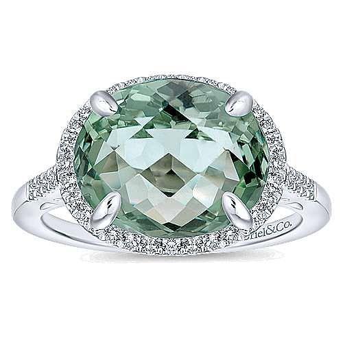 14K White Gold Horizontal Oval Green Amethyst Diamond Halo Ring