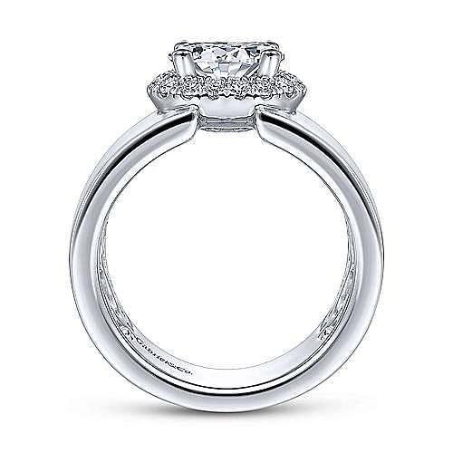 14K White Gold Horizontal Oval Halo Diamond Engagement Ring