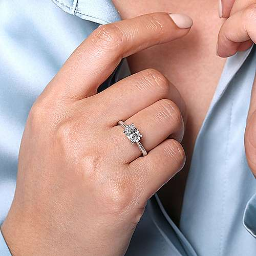 14K White Gold Horizontal Oval Solitaire Engagement Ring