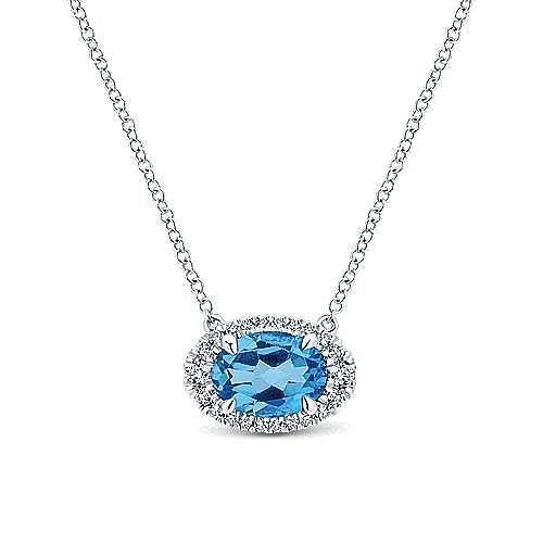 14K White Gold Horizontal Oval Swiss Blue Topaz Diamond Halo Fashion Necklace
