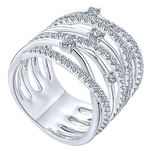 14K White Gold Intersecing Diamond Wide Criss Cross Ring