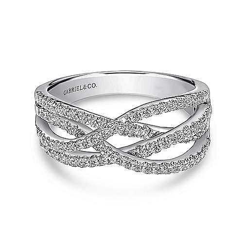14K White Gold Intersecting Diamond Ring