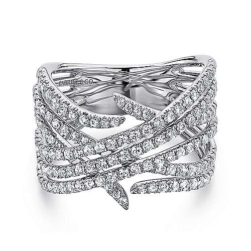 14K White Gold Intersecting Rows Wide Diamond Ring