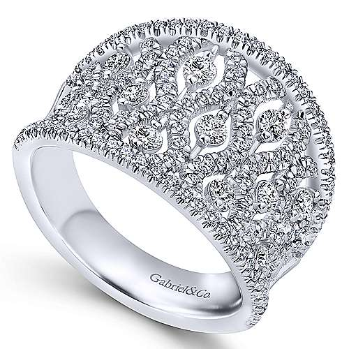 14K White Gold Intricate Openwork Diamond Wide Band Ring