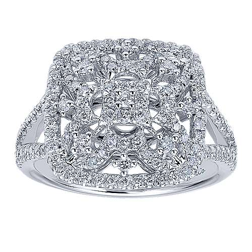 14K White Gold Intricate Pavé Diamond Square Statement Ring
