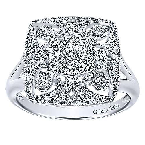 14K White Gold Intricate Vintage Inspired Square Diamond Ring
