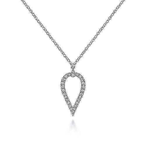 14K White Gold Inverted Teardrop Diamond Pendant Necklace
