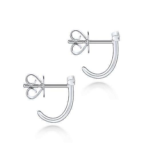 14K White Gold J Curve Diamond Bar Stud Earrings