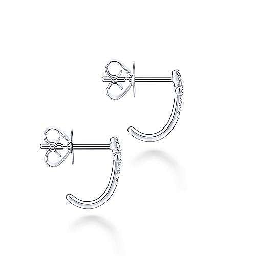 14K White Gold J Curve Diamond Cross Stud Earrings