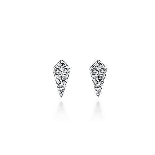 14K White Gold Kite Shaped Diamond Stud Earrings