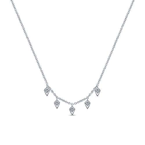 14K White Gold Kite Shaped Drops Station Necklace with Diamonds