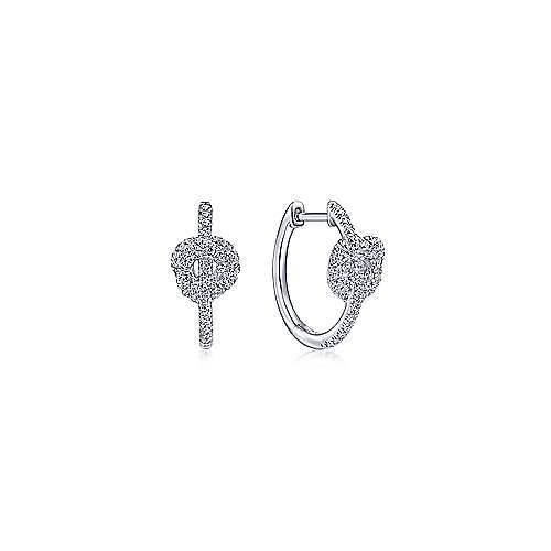 14K White Gold Knot 15mm Diamond Huggies