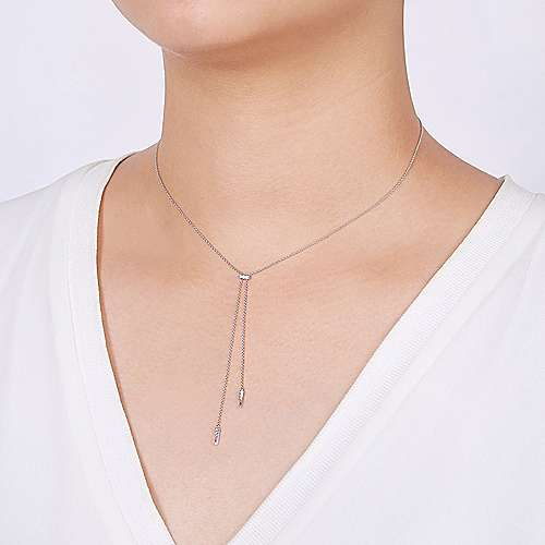 14K White Gold Lariat Choker Necklace with Diamond Bar and Spikes